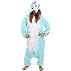 Dizoe Unicornio Pijama Adulto Animales Kigurumi Trajes Disfraz Halloween Cosplay Ropa De Dormir, Sky Blue Unicorn, S (altezza 151-158 cm)