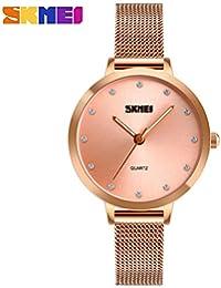Man-hj Relojes Sencillos, Moda, Malla Impermeable con Reloj de Cuarzo para Mujer