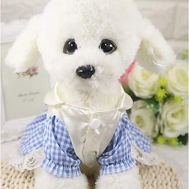 (Hunde/Katzen / Furry Small Pets Kleid Hundebekleidung Plaid/Blue Cotton Kostüm Für Haustiere,XS)