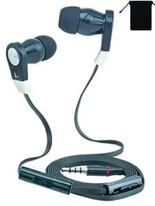 Premium 3.5mm Stereo Handsfree Headset Earbuds Earphones Headphones with mic for LG Google Nexus 5/ 4/ Nexus 7 (2013)/ Nexus 10 (Black) w/ Anti-Tangle Flat Wire and with Volume Control + Carry Bag