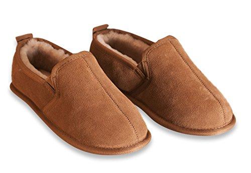 Nordvek - Pantofole chiuse uomo 100% pelo di pecora - 39.5-48 EU - # 407-100 Marrone chiaro