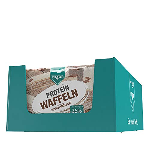 Best Body Nutrition Fit4Day Protein Waffeln Schoko-Haselnuss, 18 x 63 g