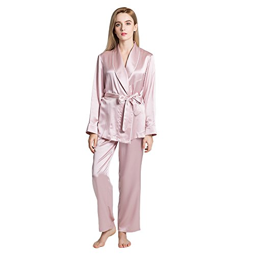 Kostüme Paare Weiße Asiatische (LULUSILK Damen 19 Momme Seide Schlafanzug Pyjama Set mit Gürtel, Hell Pflaume,)