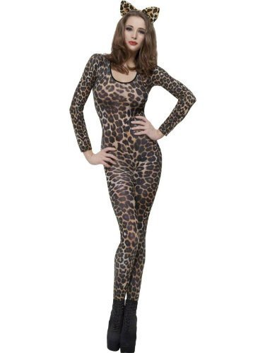 Fancy Dress Leopard Damen Kostüm - Smiffy Damen Sexy Leopard, Zebra, Tiger Camo Dance Lace Bodystocking Catsuit Fancy Dress Gepard-Aufdruck
