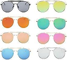 QHGstore Unisex retro cl?¢sico del aviador del estilo retro de la lente de cristal de las gafas de lentes de espejo Gafas de dise?o Marco del metal