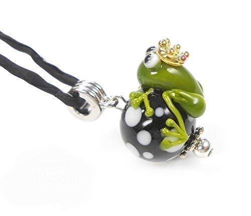 handgefertigter Anhänger aus Glas, Perle schwarz/weiss mit Frosch inklusive Seidenband -