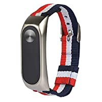 tirdds reliable Selling Fashion Stripe Canvas Wrist Strap For Mi Band 2 Wristbands Bracelet Strap Metal Buckle in fine style(None silver)