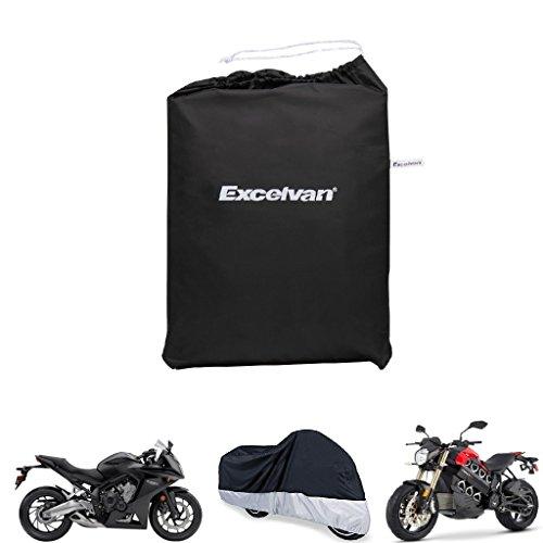 Preisvergleich Produktbild Excelvan Motorrad Cover 245cm Fahrradgarage Abdeckhaube Fahrrad Gewebeplane Motorrad Abdeckung Wasserdichte Aufbewahrungstasche für Honda Harley Davidson (Schwarz-Silber)