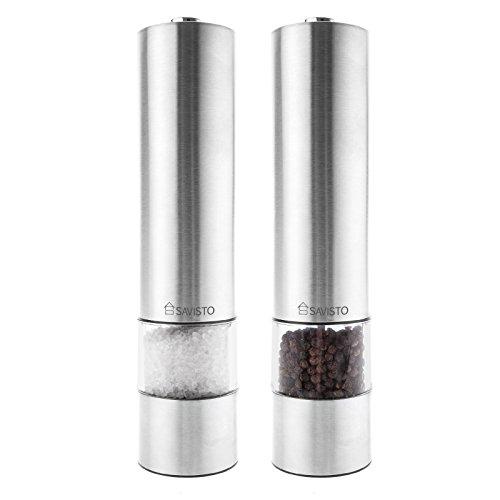 Savisto Leuchtendes Elektronisches Salz & Pfeffer Mühlen Set (Paar) - Edelstahl - Verbesserter Modell