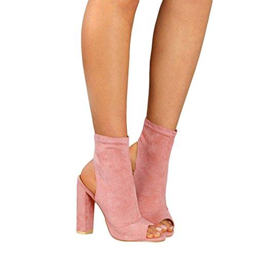 Kootk Damen Sommerschuhe Sandalen Peep Toe High Heels Sandalette 10cm Absatz Schuhe Kurz Stiefel Blockabsatz Pumps Damensandaletten Abendschuhe Rosa 36