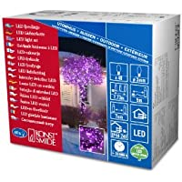 Konstsmide 3627-450 Micro LED Lichterkette / für Außen (IP44) /  24V Außentrafo / 40 purpure Dioden / schwarzes Kabel