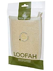 Balmy Naturel - LOOFAH BATH & SHOWER BODY MITT - Exfoliating Loofah Mitt 100% Natural Luffa and Terry Cloth Materials Loofa Sponge Scrubber Brush Close Skin For Men and Women When Bath Spa and Shower