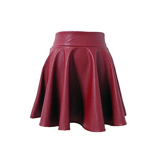 086079446affa4 EULAGPRE Frauen Hohe Taille Lederrock Casual Slim Über Dem Knie Mini Röcke  Weibchen