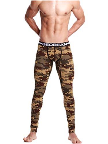 (TEBAISE Männer Leggings lang Unterhose Unterwäsche Strumpfhose Herrenleggings Hose Herren Pro Cool Compression Tights Yoga Leggings(A-Armee grün,M))