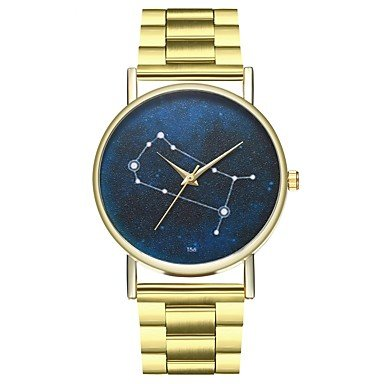 Relojes Hermosos, Hombre Mujer Reloj creativo único Reloj de Moda Chino Cuarzo Cronógrafo Punk Fase lunar Reloj Casual Acero Inoxidable Banda Moda Dorado ( Color : Oro )