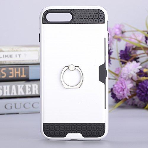 Hülle für iPhone 7 plus , Schutzhülle Für iPhone 7 Plus Texture Metall Schutzmaßnahmen zurück Fall mit Ring Halter Stand & Card Slot ,hülle für iPhone 7 plus , case for iphone 7 plus ( Color : Blue ) White