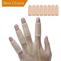 sumifunfinger mangas pantalla tela dedo punta de cojín tubos de alivio instantáneo del dolor protectores de uso como para dolores de dedos de las manos y los pies/callo/maíz/ampollas (8 mangas, Rosado)