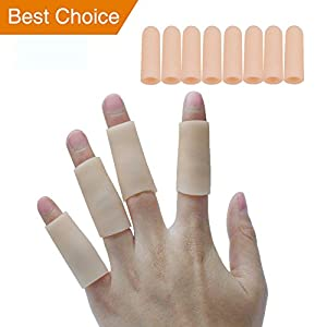 Sumifun-Gel-Fingerlinge, Fingerschutz-Unterstützung Finger Kappen Silikon Fingerschutz Gel Finger Ärmel Unterstützung für Kissen Finger-Handschuhe, Finger-Hülsen (8 Ärmel)
