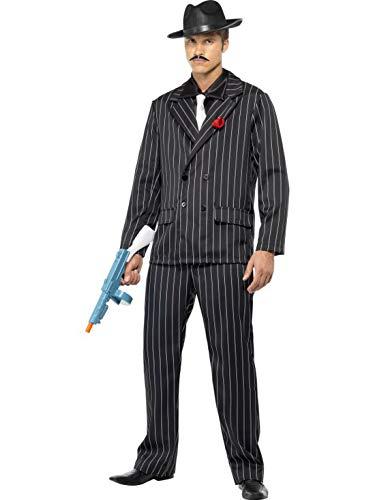 Halloweenia - Herren Männer Nadelstreifen Anzug Gangster Kostüm im 20er Jahre Al Capone Stil mit Jacket, Hose, Hemdfront und Schlips, perfekt für Karneval, Fasching und Fastnacht, M, ()