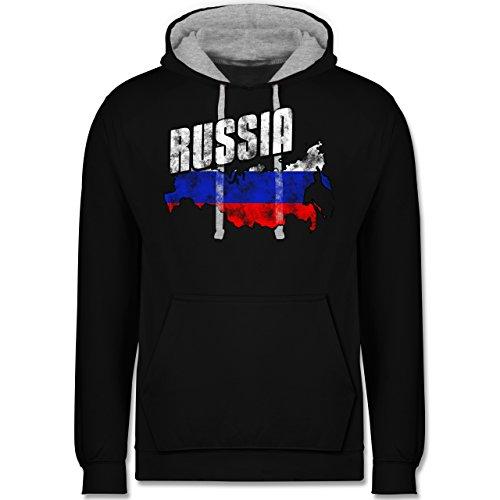 Fußball-WM 2018 - Russland - Russia Umriss Vintage - Kontrast Hoodie Schwarz/Grau Meliert
