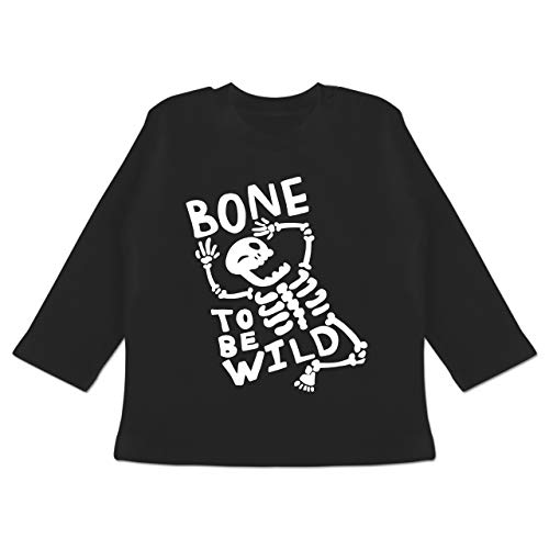 Anlässe Baby - Bone to me Wild Halloween Kostüm - 3-6 Monate - Schwarz - BZ11 - Baby T-Shirt Langarm