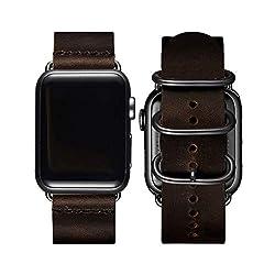 BesBand Retro Lederbänder Kompatibel mit Apple Watch Armband 42mm 44mm 38mm 40mm,Echtes Leder Vintage Armbänder Kompatibel für Männer Frauen iWatch Series5 Series4/3/2/1 (42mm 44mm, Kaffee/Schwarz)