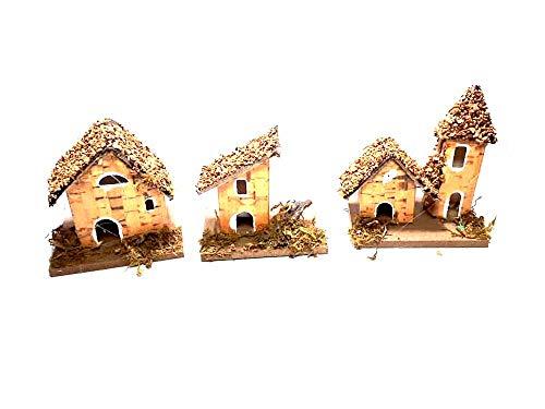 Ricevi 3 casette miste 7x5 cm alte 6-8 cm circa sughero e legno napoletano per pastori montagne statuine presepe ricevi un portachiavi s.g. armeno artigianali gia