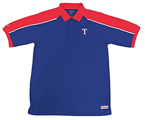 MLB Texas Rangers Color Blocked Polo with Lined Mini Mesh Panels, Royal, Medium