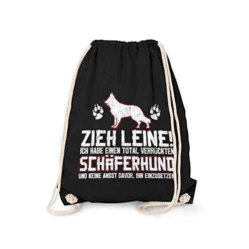Fashionalarm Turnbeutel - Zieh Leine - verrückter Schäferhund | Fun Rucksack mit Spruch Geschenk Idee Rasse Hunde Besitzer Züchter Deutscher, Farbe:schwarz (Rasse Schäferhund)