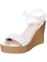 fa881e558dc399 Minetom Damen Sandalen Sommer Schnalle Wedge Absätze Peep Toe Römersandalen  Strand Elegant Sexy Mode Sandal Schuhe