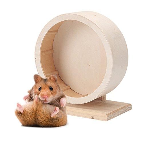 Petacc Haustier Holz Übung Rad Stumm Hamster Laufrad umweltfreundliche Pet Toy Wheel, geeignet für Hamster, Maus, Ratten und afrikanischen Igel, 5,9 '' Durchmesser (S)