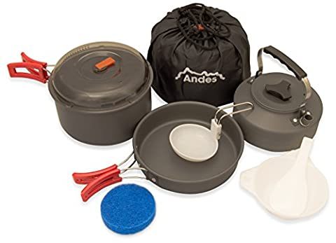 Andes Portable Camping Anodised Aluminium Cookware Set Pots Pans Kettle Kitchen