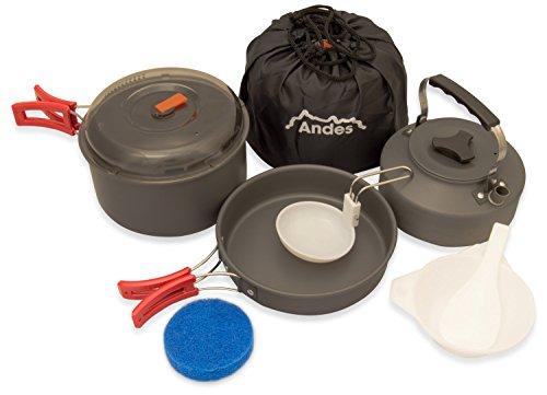 Andes - Campinggeschirr-Set - Topf, Pfanne & Kessel - Eloxiertes Aluminium