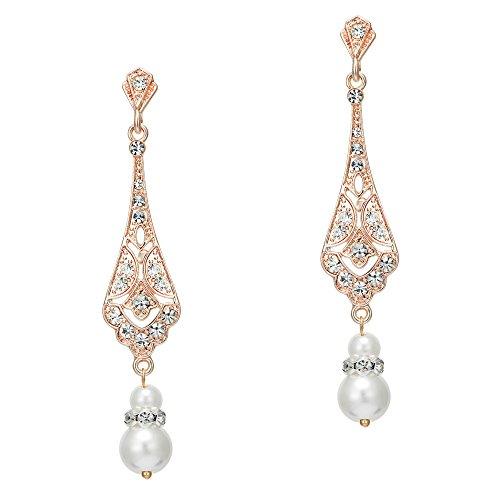 Coucoland 1920s Retro Stil Ohrringe Damen Perlen Dangle Ohrringe Inspiriert von Great Gatsby Damen Kostüm Accessoires (Stil 2-Rose Gold) (Bester Link Kostüm)