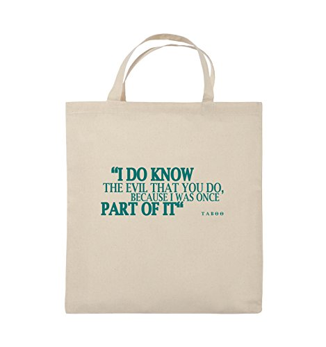 Comedy Bags - I DO KNOW THE EVIL - TABOO - Jutebeutel - kurze Henkel - 38x42cm - Farbe: Schwarz / Silber Natural / Türkis