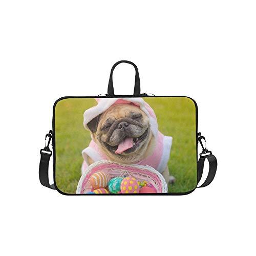 Kitz Mops Hund Tragen Kaninchen Kostüm Aktentasche Laptoptasche Messenger Schulter Arbeitstasche Crossbody Handtasche Für Geschäftsreisen (Teen Hunde Kostüm)