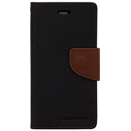 Cubezap Mercury Goospery Fancy Diary Card Wallet Flip Case Back Cover for Sony Xperia M Experia Dual - Brown Black