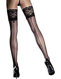 Bas noir à couture Autofixants 20 den - Jarretière dentelle élastiquée