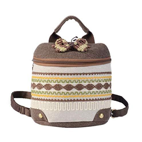 Damen Leicht Rucksack Atmungsaktiv Damenrucksack Bestickt Backpack Frauen Tote Tasche Leinen Freizeitrucksack -