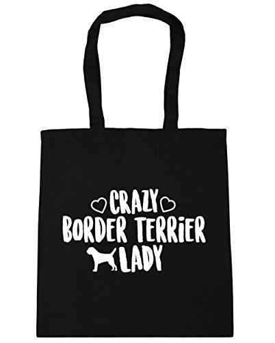 hippowarehouse-crazy-border-terrier-lady-tote-shopping-gym-beach-bag-42cm-x38cm-10-litres