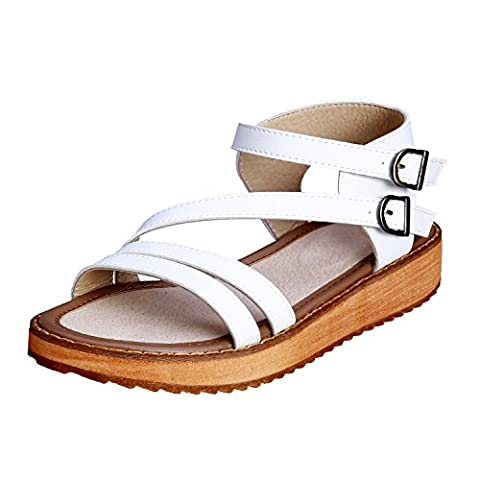 Smilun Girl's Roman Sandals Flip Flop Thong Cross Wrap Back Strap Metal Buckle Strap Flip Flops Thongs Sandals Flat Gladiator Sandals White