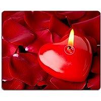 Luxlady Gaming Mousepad immagine ID: 23881245Cuore Candela rossa e petali di Rosa