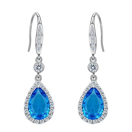 Clearine Orecchini Argento 925 Matrimonio nuziale zircone pendenti Orecchini a gancio Blu Colore topazio