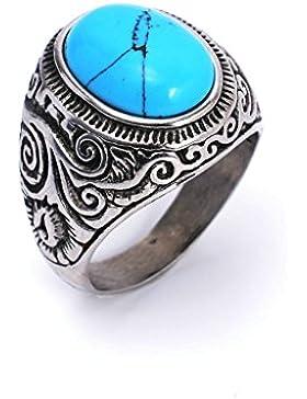 Epinki Herren Ringe, 316L Edelstahl Schwarz Achat Türkis Herrenring Ring Silber