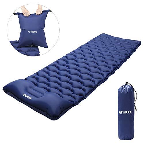 ENKEEO Isomatte Aufblasbare Camping Luftmatratze 190 x 65 x 6.5 cm, Aufgeblasen durch Airbag, Schlafmatte mit Kissen Wasserdicht Sleeping Pad für Wandern, Outdoor (Dunkel Blau)