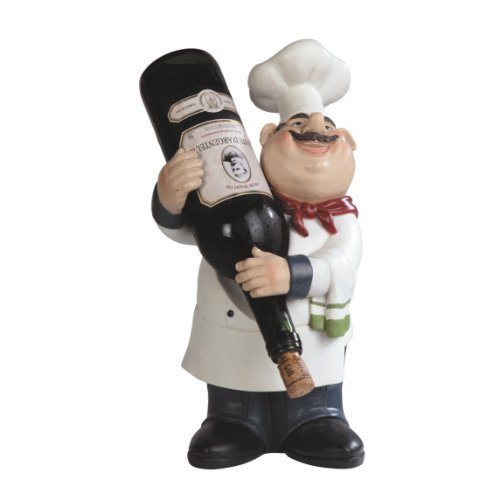 Large Fat Bistro Chef Wine Bottle Holder Poly Resin Kitchen Figurine Statue Height 14.25 inches by GSC (Bistro-statue)