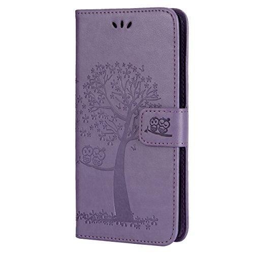 EUWLY Kompatibel mit Galaxy S7 Hülle Handyhülle Luxus Baum Eule Bookstyle LederHülle Ledertasche Schutzhülle Klappbar Handy Tasche Leder Flip Case Cover Mit Magnetverschluß,lila
