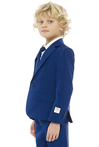 Opposuits Solid Colored Suits For Little Boys and Teen Boys – Navy-Blue, Black and White Outfits Come With Pants, Jacket and Tie Opposuits
