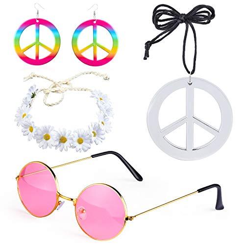 Beefunny 4 Stück Hippie Kostüm Dressing 60er Jahre Accessoires Set Friedenszeichen Halskette Blume Krone Stirnband Hippie Sonnenbrille und Ohrringe (C)
