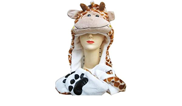 dd5d4a1a2f9 Plush Giraffe Animal Hat - Giraffe Hat with Ear Flaps and Hand Pockets   Amazon.co.uk  Toys   Games
